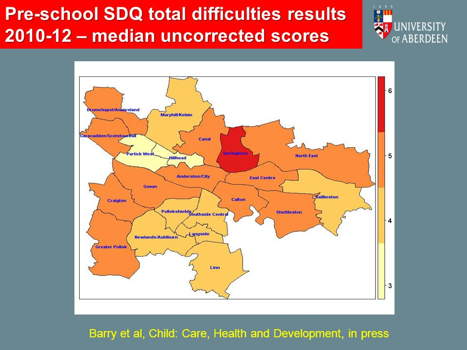 Pre-school SDQ total difficulties results 2010-12 – median uncorrected scores Barry et al, Child: Care, Health and Development, in press