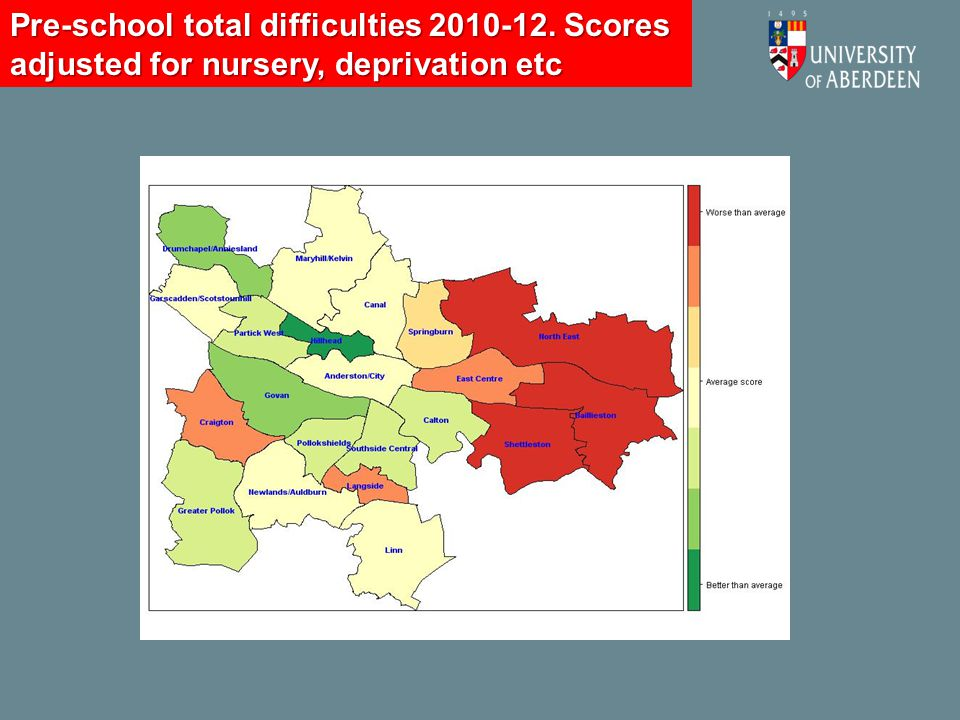 Pre-school total difficulties 2010-12. Scores adjusted for nursery, deprivation etc