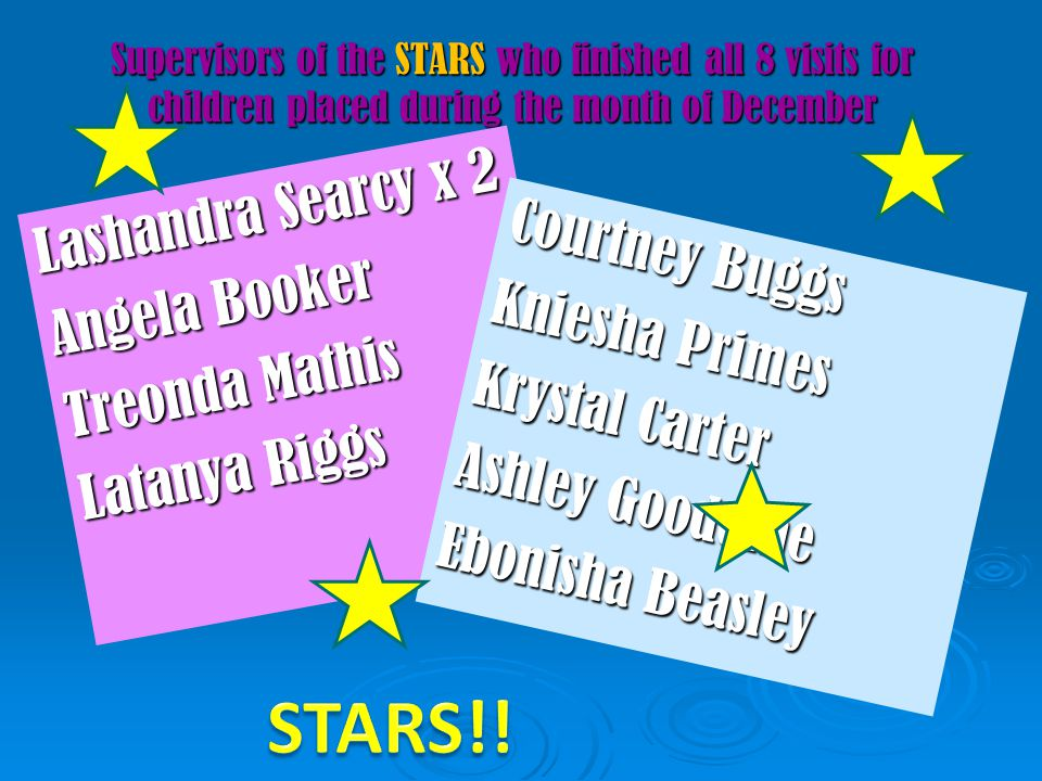 Supervisors of the STARS who finished all 8 visits for children placed during the month of December Lashandra Searcy x 2 Angela Booker Treonda Mathis
