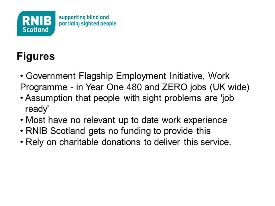 Figures Government Flagship Employment Initiative, Work Programme - in Year One 480 and ZERO jobs (UK wide) Assumption that people with sight problems are job ready Most have no relevant up to date work experience RNIB Scotland gets no funding to provide this Rely on charitable donations to deliver this service.