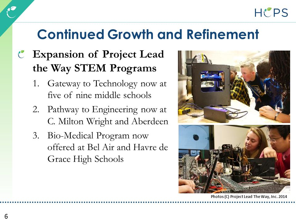6 Continued Growth and Refinement Expansion of Project Lead the Way STEM Programs 1.Gateway to Technology now at five of nine middle schools 2.Pathway to Engineering now at C.