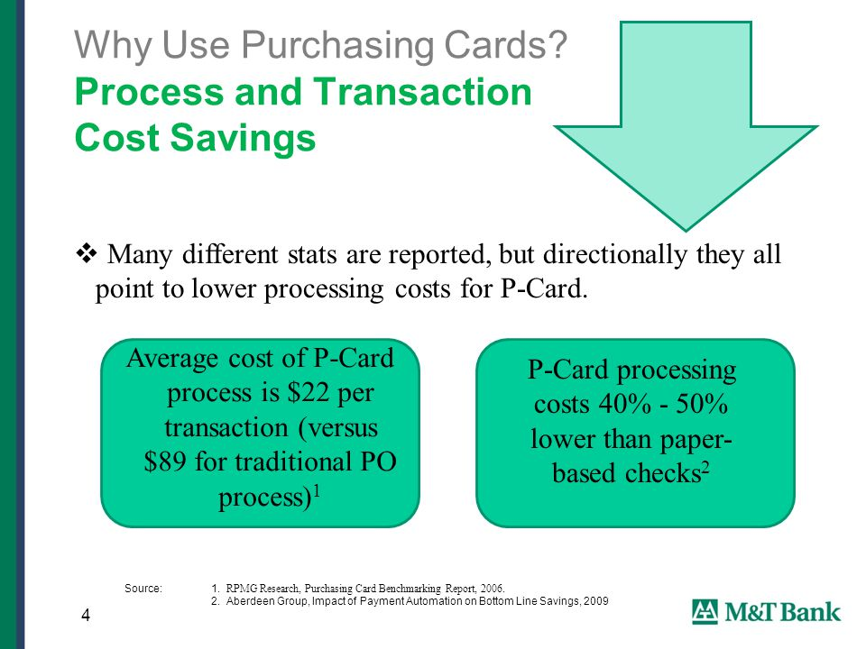  Many different stats are reported, but directionally they all point to lower processing costs for P-Card.