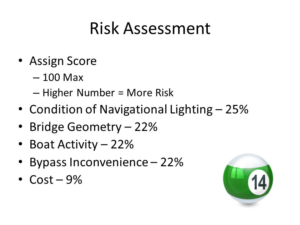 Risk Assessment Assign Score – 100 Max – Higher Number = More Risk Condition of Navigational Lighting – 25% Bridge Geometry – 22% Boat Activity – 22%