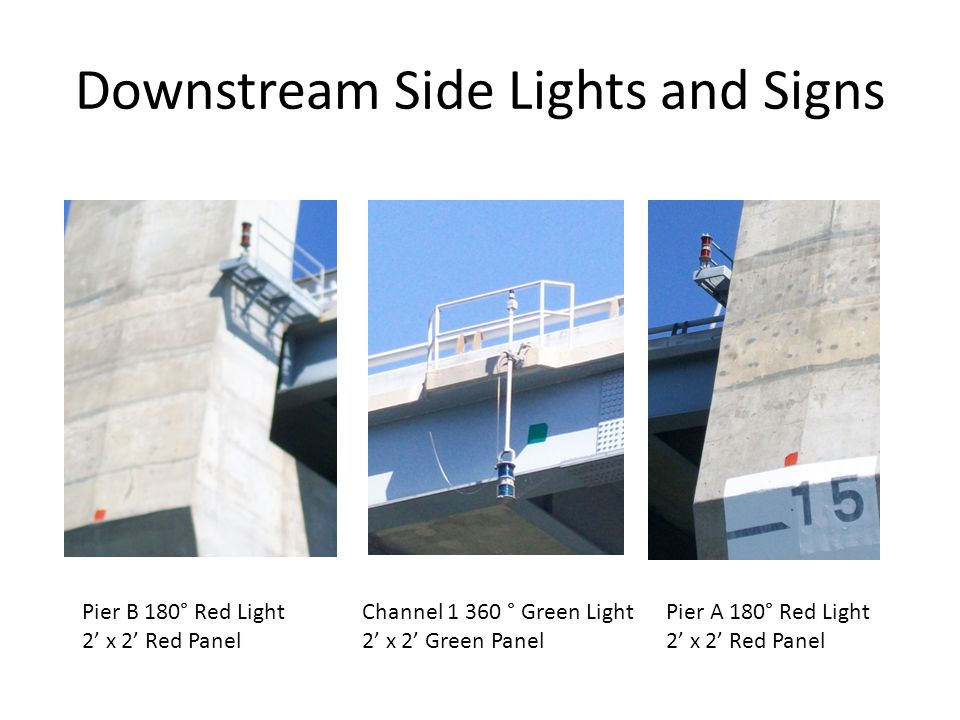 Downstream Side Lights and Signs Pier B 180° Red Light 2' x 2' Red Panel Channel 1 360 ° Green Light 2' x 2' Green Panel Pier A 180° Red Light 2' x 2'
