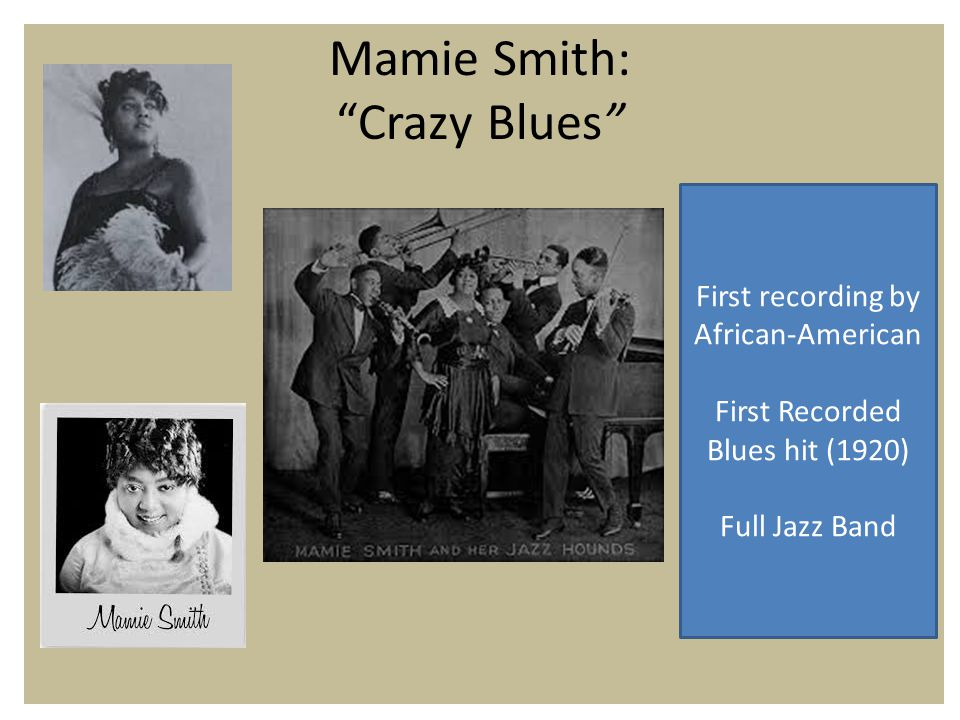Mamie Smith: Crazy Blues First recording by African-American First Recorded Blues hit (1920) Full Jazz Band