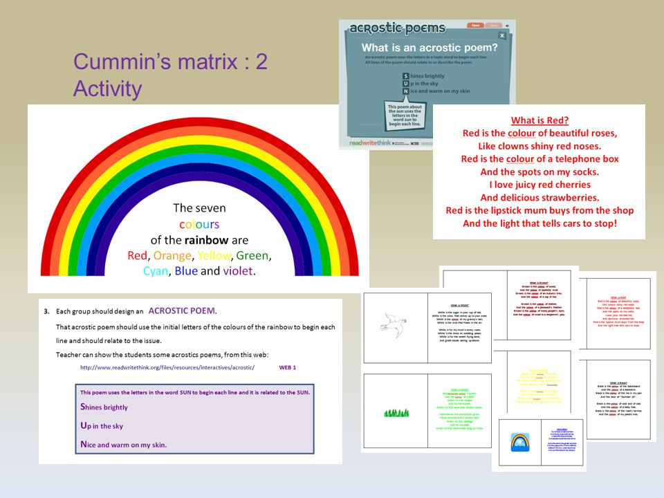 Cummin's matrix : 2 Activity
