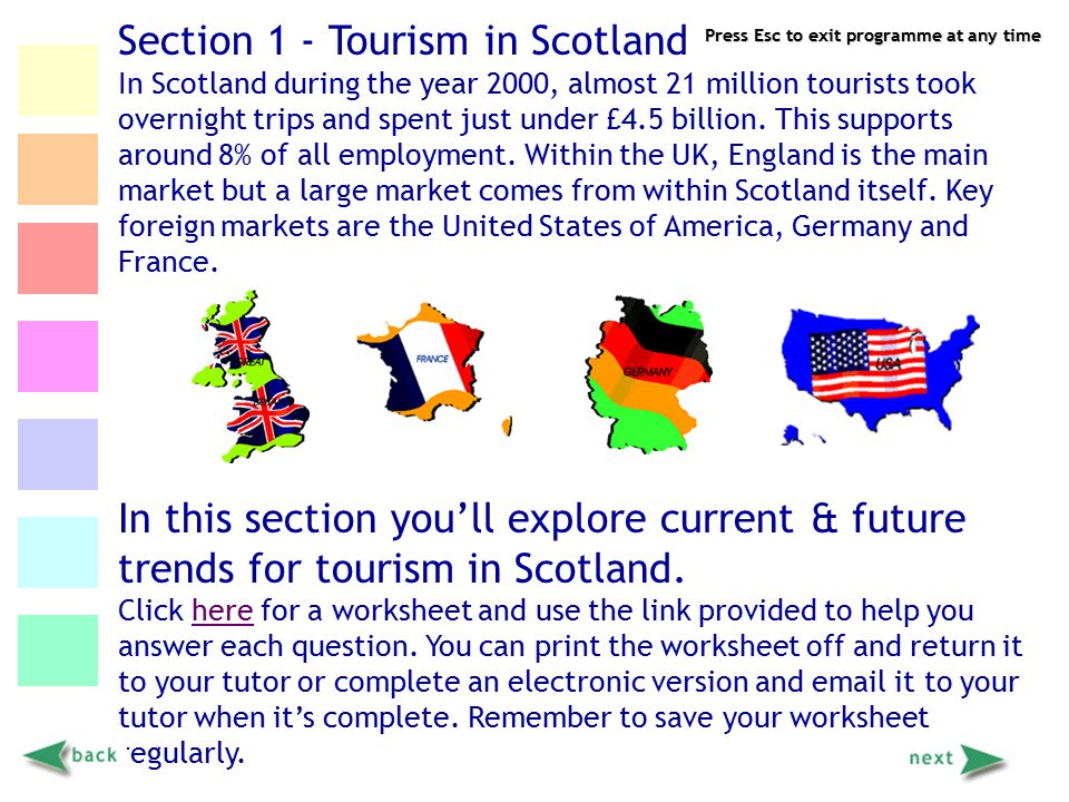 Press Esc to exit programme at any time Section 1 - Tourism in Scotland In Scotland during the year 2000, almost 21 million tourists took overnight tr