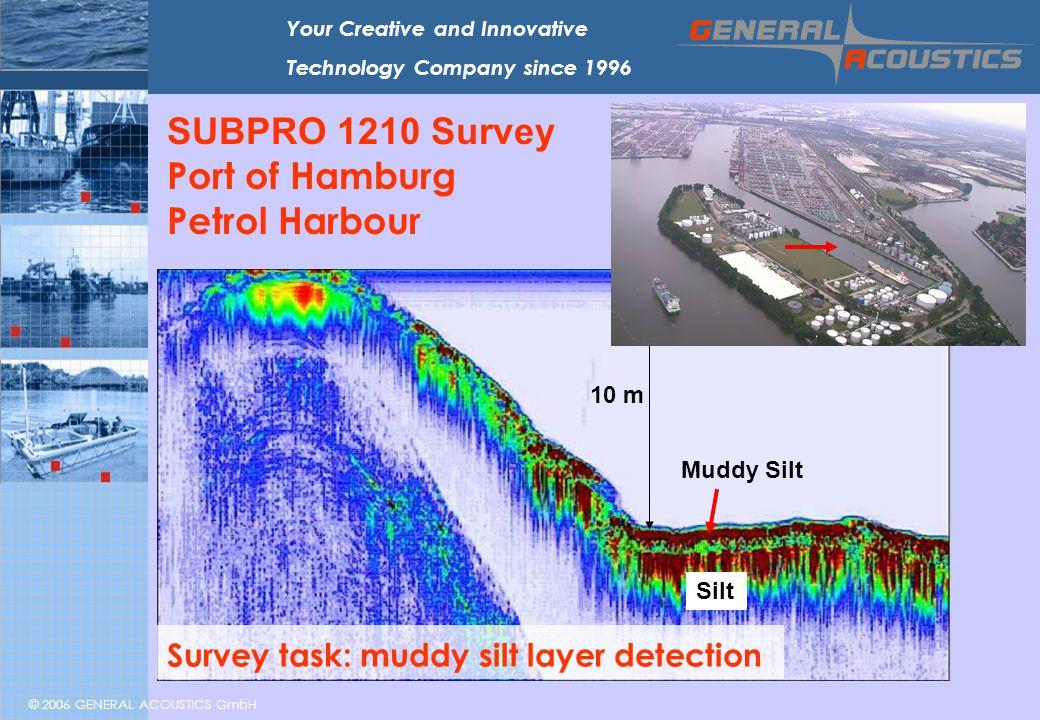 © 2006 GENERAL ACOUSTICS GmbH Your Creative and Innovative Technology Company since 1996 SUBPRO 1210 Survey Port of Hamburg Petrol Harbour 10 m Muddy Silt Silt Survey task: muddy silt layer detection