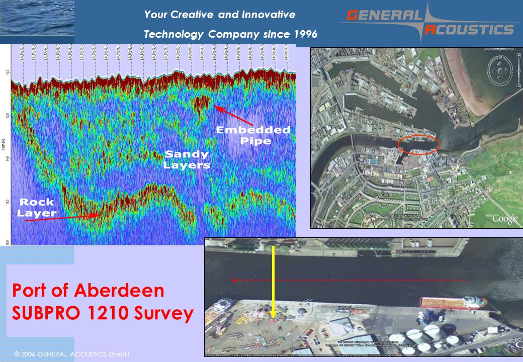 © 2006 GENERAL ACOUSTICS GmbH Your Creative and Innovative Technology Company since 1996 Port of Aberdeen SUBPRO 1210 Survey Embedded Pipe