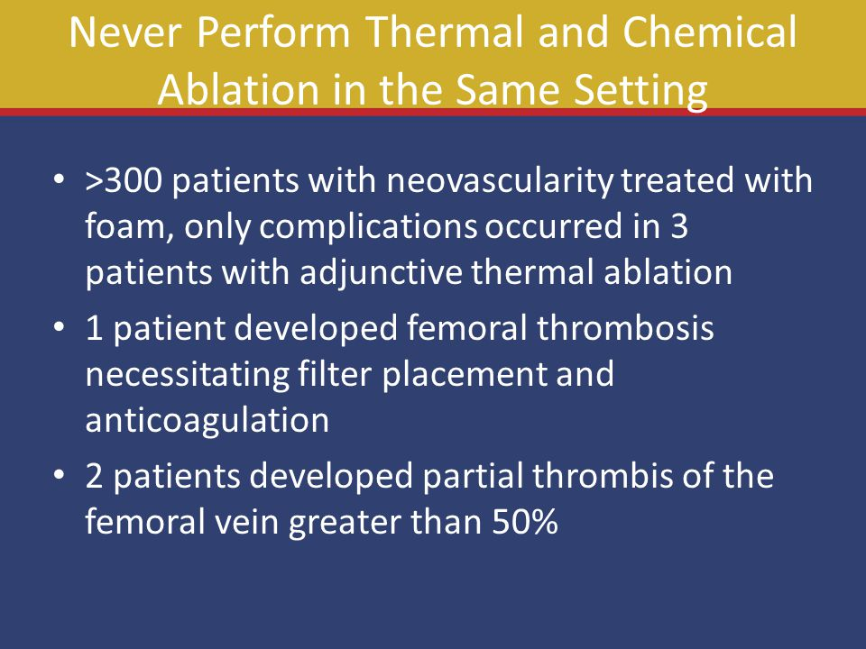 Never Perform Thermal and Chemical Ablation in the Same Setting >300 patients with neovascularity treated with foam, only complications occurred in 3