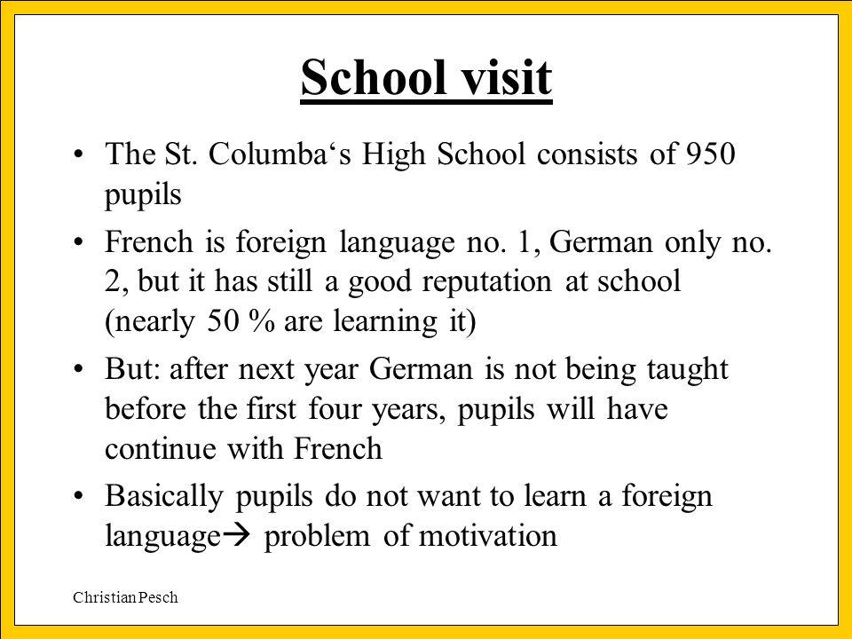 Christian Pesch School visit The St.