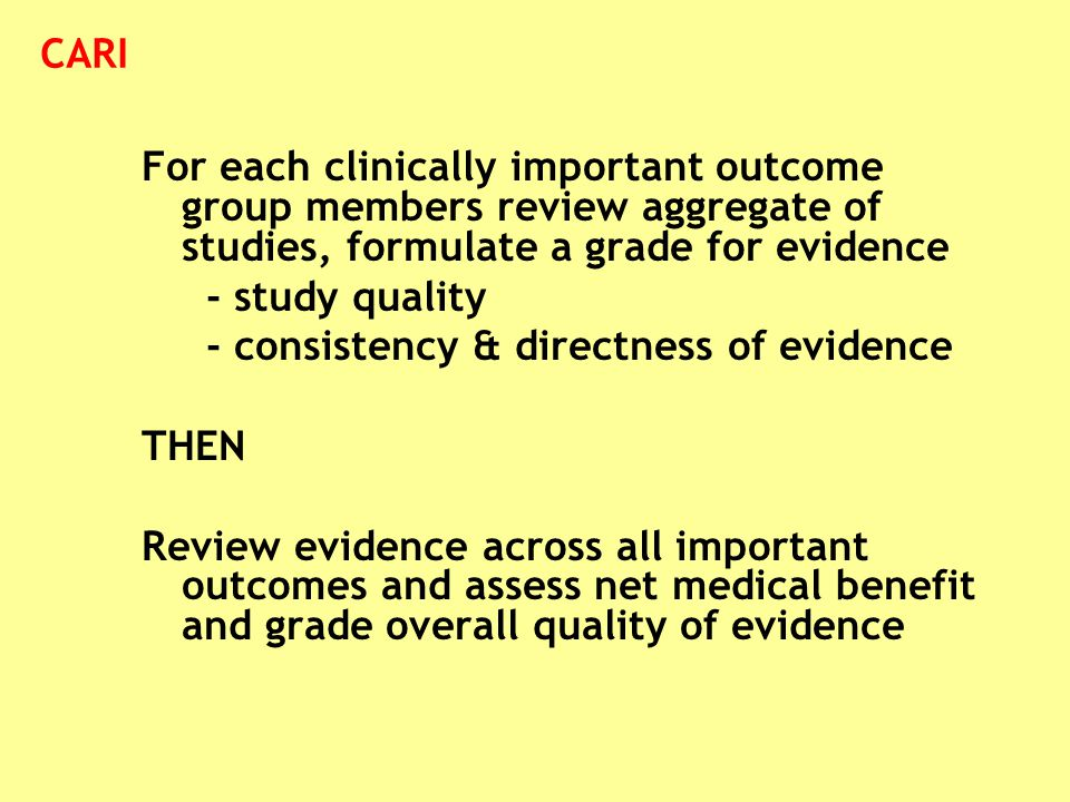 For each clinically important outcome group members review aggregate of studies, formulate a grade for evidence - study quality - consistency & direct