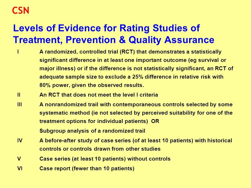 Levels of Evidence for Rating Studies of Treatment, Prevention & Quality Assurance IA randomized, controlled trial (RCT) that demonstrates a statistic