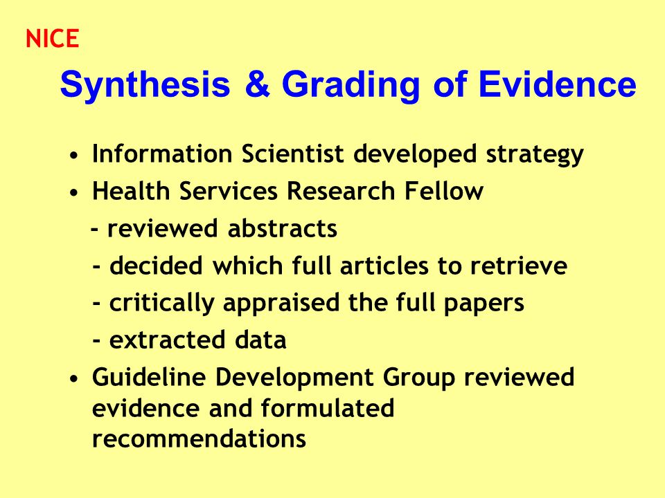 Synthesis & Grading of Evidence Information Scientist developed strategy Health Services Research Fellow - reviewed abstracts - decided which full art
