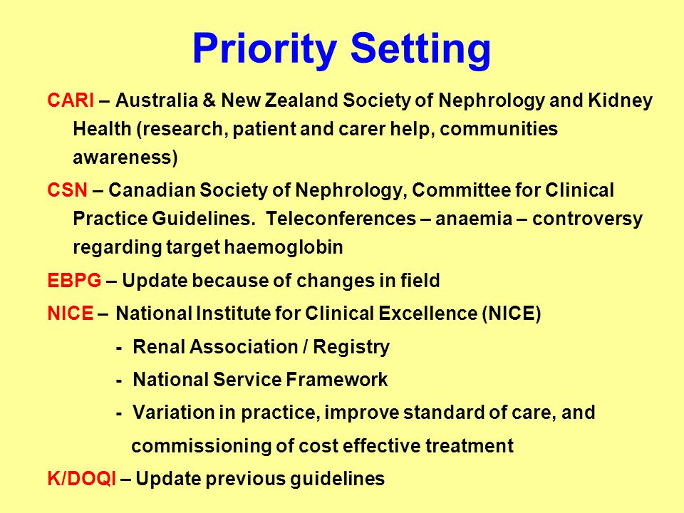 Priority Setting CARI – Australia & New Zealand Society of Nephrology and Kidney Health (research, patient and carer help, communities awareness) CSN