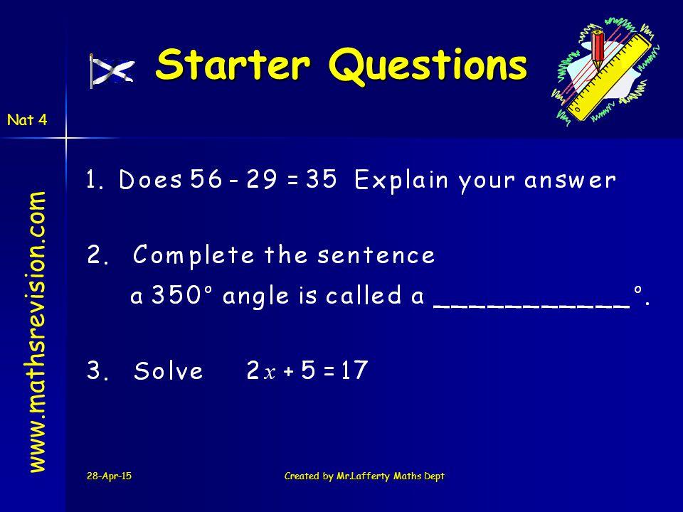 28-Apr-15Created by Mr.Lafferty Maths Dept Starter Questions Starter Questions www.mathsrevision.com Nat 4