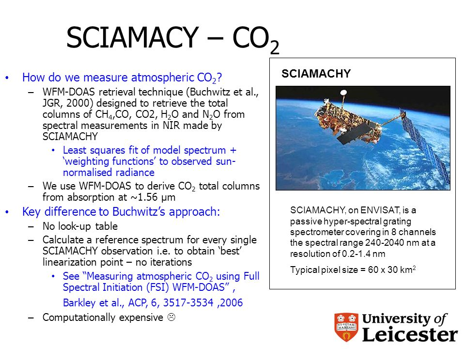 SCIAMACY – CO 2 How do we measure atmospheric CO 2 .