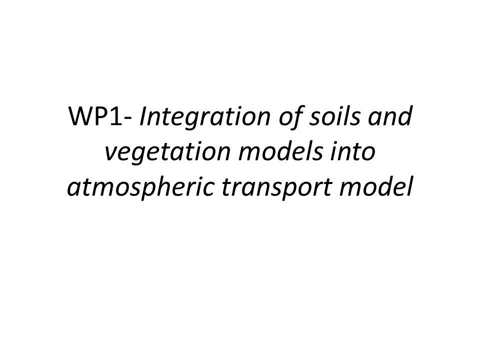WP1- Integration of soils and vegetation models into atmospheric transport model