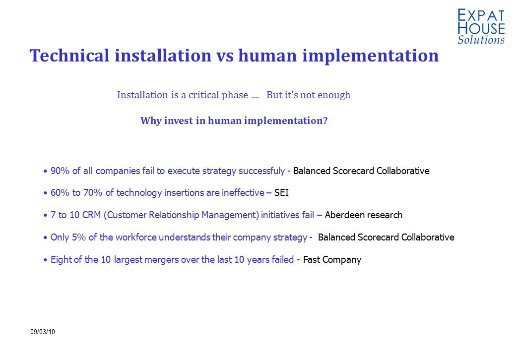 09/03/10 86% 85% Technical installation vs human implementation Installation is a critical phase....