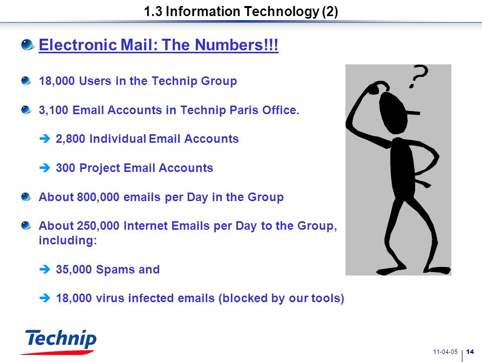 11-04-05 13 1.3 Information Technology (1) Investments in IT tools are high : 70-80 million Euros for the Technip Group on a yearly basis.