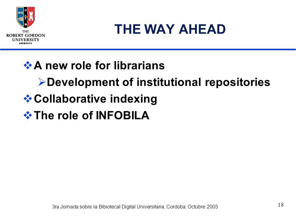 3ra Jornada sobre la Bibiotecal Digital Universitaria, Cordoba, Octubre 2005 18 THE WAY AHEAD  A new role for librarians  Development of institutional repositories  Collaborative indexing  The role of INFOBILA
