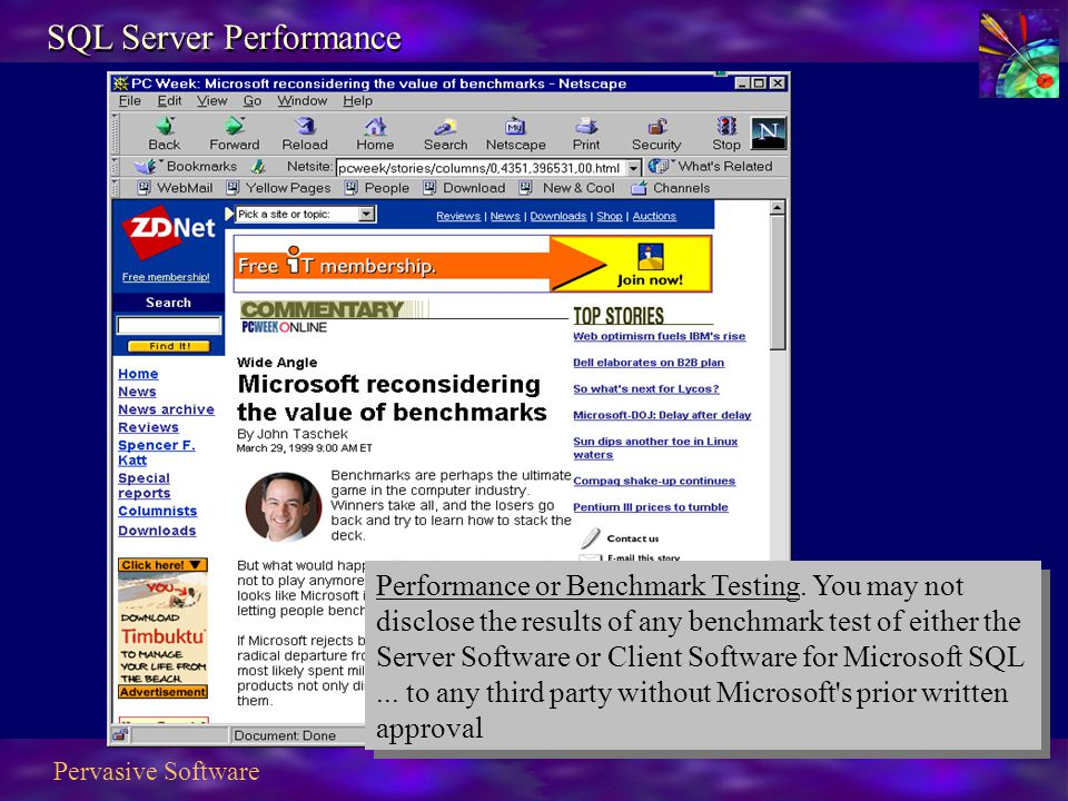 Pervasive Software SQL Server Performance Performance or Benchmark Testing.