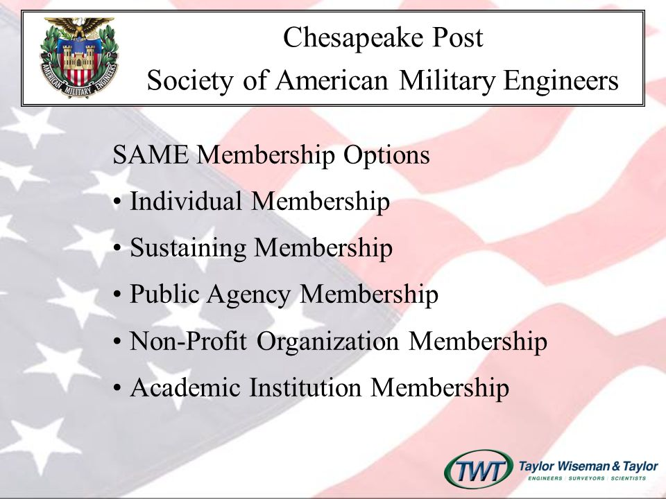 Committees Education, Mentoring & Outreach Committee Programs Committee Younger Members Committee Awards and Recognition Emergency Preparedness & Homeland Security Environmental Facility Asset Management Chesapeake Post Society of American Military Engineers
