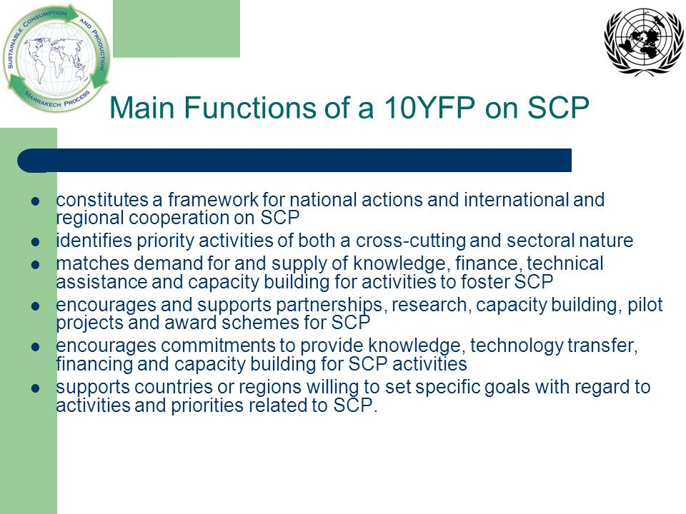 Main Functions of a 10YFP on SCP constitutes a framework for national actions and international and regional cooperation on SCP identifies priority ac