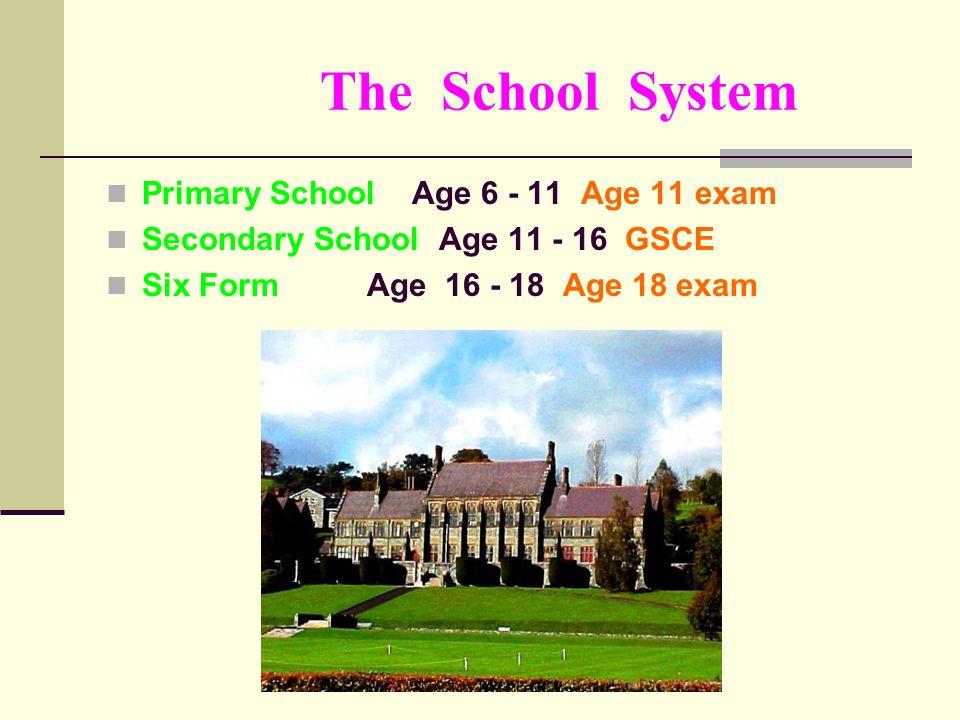 Types of schools PRIMARY SCHOOL Infant school age 5 - 7 Junior school age 8 - 11 STREAMING A, B, C, D streams