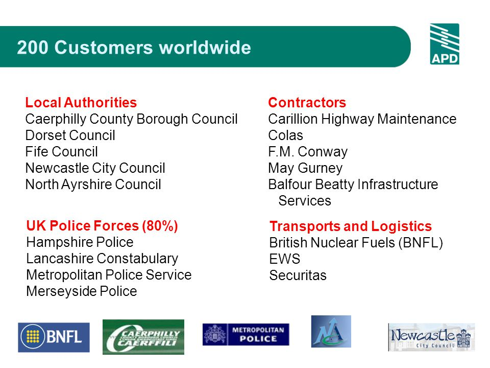200 Customers worldwide UK Police Forces (80%) Hampshire Police Lancashire Constabulary Metropolitan Police Service Merseyside Police Contractors Carillion Highway Maintenance Colas F.M.
