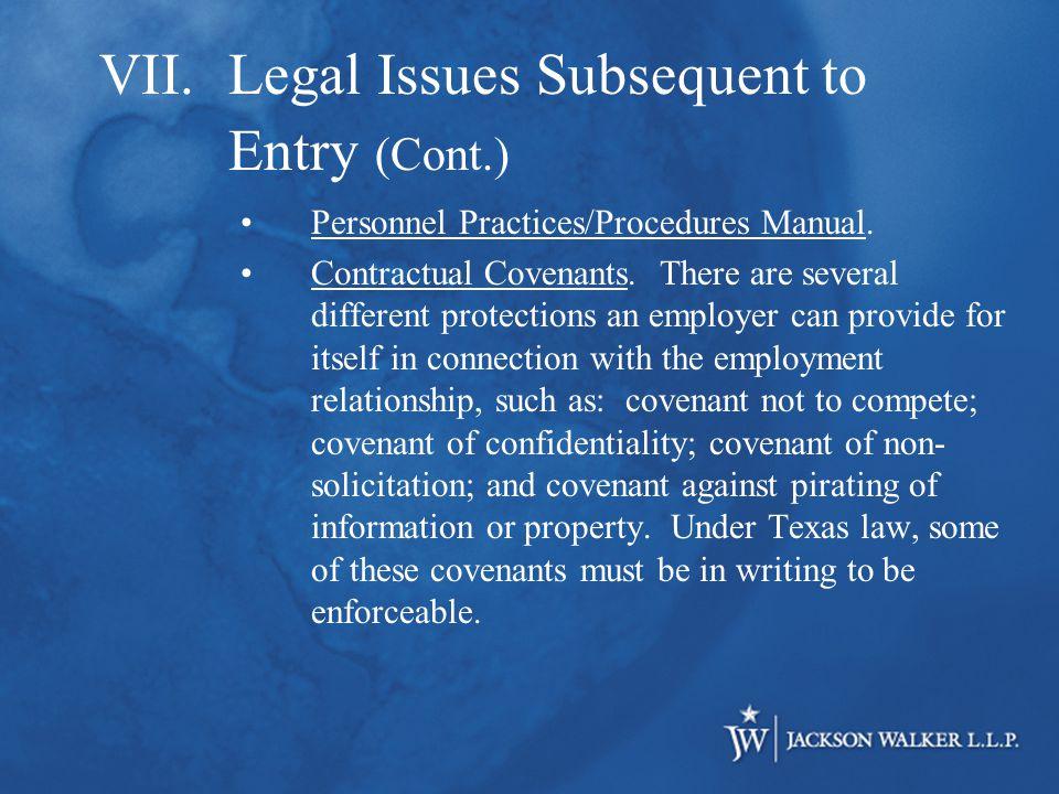 Personnel Practices/Procedures Manual. Contractual Covenants.