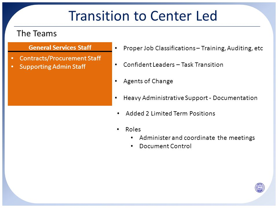 Transition to Center Led The Teams General Services Staff Contracts/Procurement Staff Supporting Admin Staff Pilot Team Proper Job Classifications – Training, Auditing, etc Confident Leaders – Task Transition Agents of Change Heavy Administrative Support - Documentation Roles Administer and coordinate the meetings Document Control Added 2 Limited Term Positions