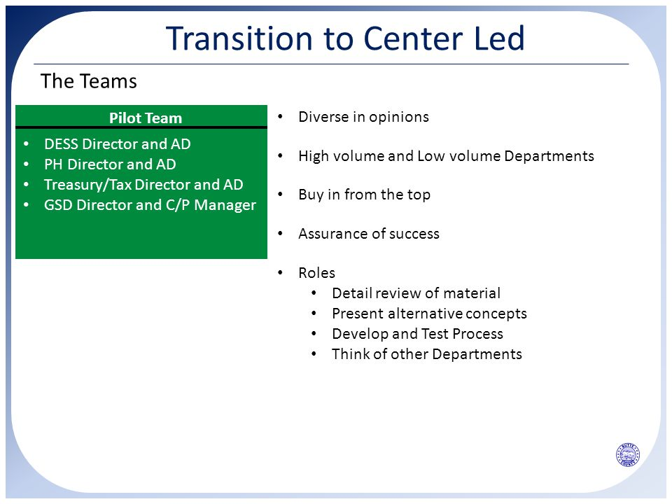 Transition to Center Led The Teams Pilot Team DESS Director and AD PH Director and AD Treasury/Tax Director and AD GSD Director and C/P Manager Diverse in opinions High volume and Low volume Departments Buy in from the top Assurance of success Roles Detail review of material Present alternative concepts Develop and Test Process Think of other Departments