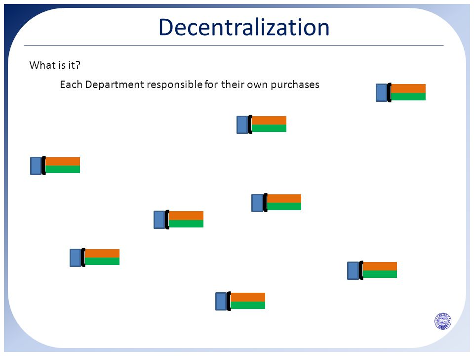 Decentralization What is it? Each Department responsible for their own purchases