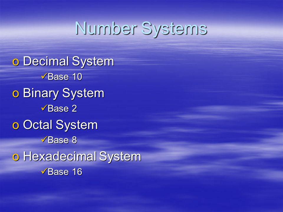 Number Systems oDecimal System Base 10 Base 10 oBinary System Base 2 Base 2 oOctal System Base 8 Base 8 oHexadecimal System Base 16 Base 16