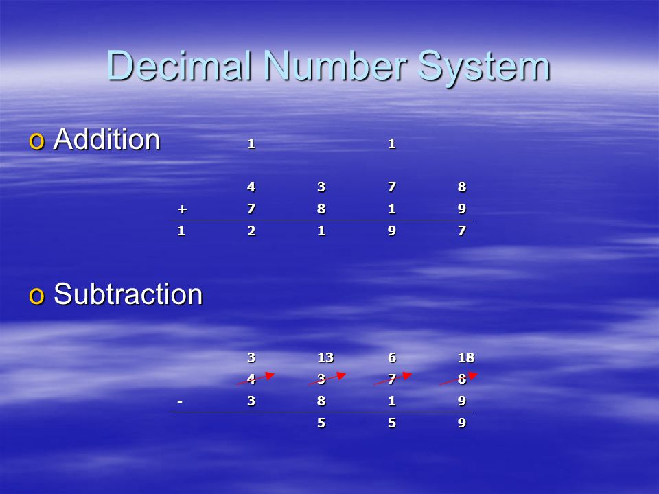 Decimal Number System oAddition oSubtraction 79121 9187+ 873411 955 9183- 8734186133