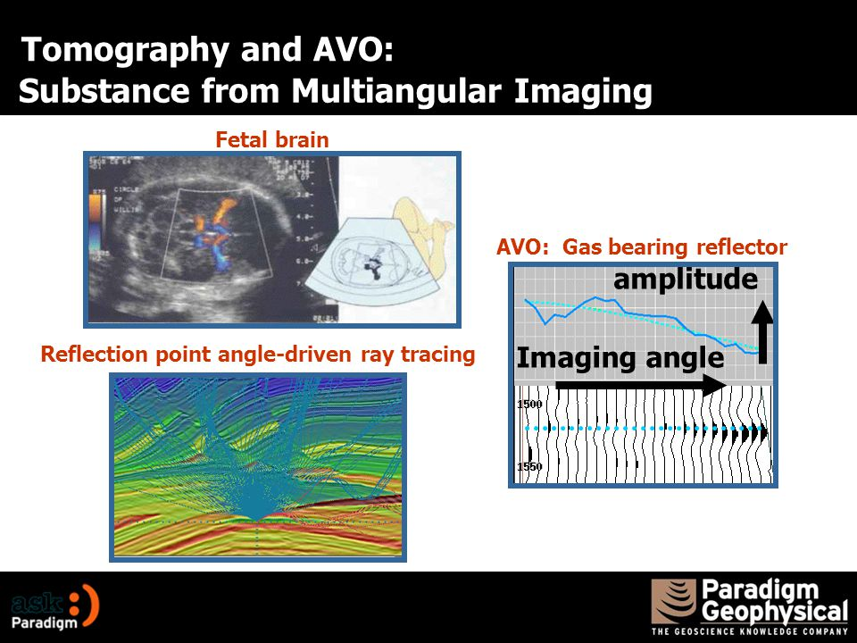 Substance from Multiangular Imaging Imaging angle amplitude Fetal brain Reflection point angle-driven ray tracing AVO: Gas bearing reflector Tomography and AVO: