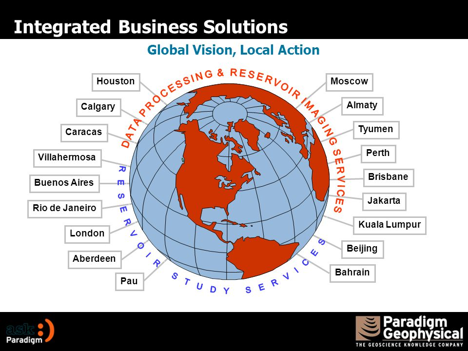 Integrated Business Solutions Houston Calgary Caracas Villahermosa Buenos Aires Rio de Janeiro London Aberdeen Pau Bahrain Tyumen Beijing Perth Brisbane Jakarta Kuala Lumpur Moscow Almaty Global Vision, Local Action