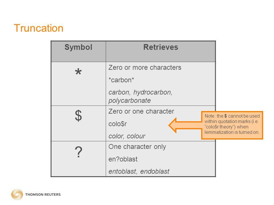 Truncation SymbolRetrieves * Zero or more characters *carbon* carbon, hydrocarbon, polycarbonate $ Zero or one character colo$r color, colour ? One ch