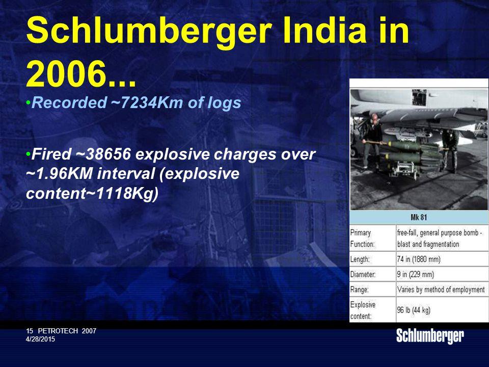 Schlumberger Public 15PETROTECH 2007 4/28/2015 Schlumberger India in 2006...