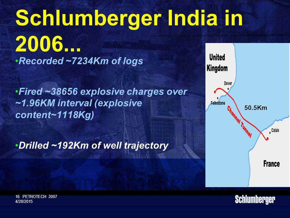 Schlumberger Public 16PETROTECH 2007 4/28/2015 Schlumberger India in 2006...