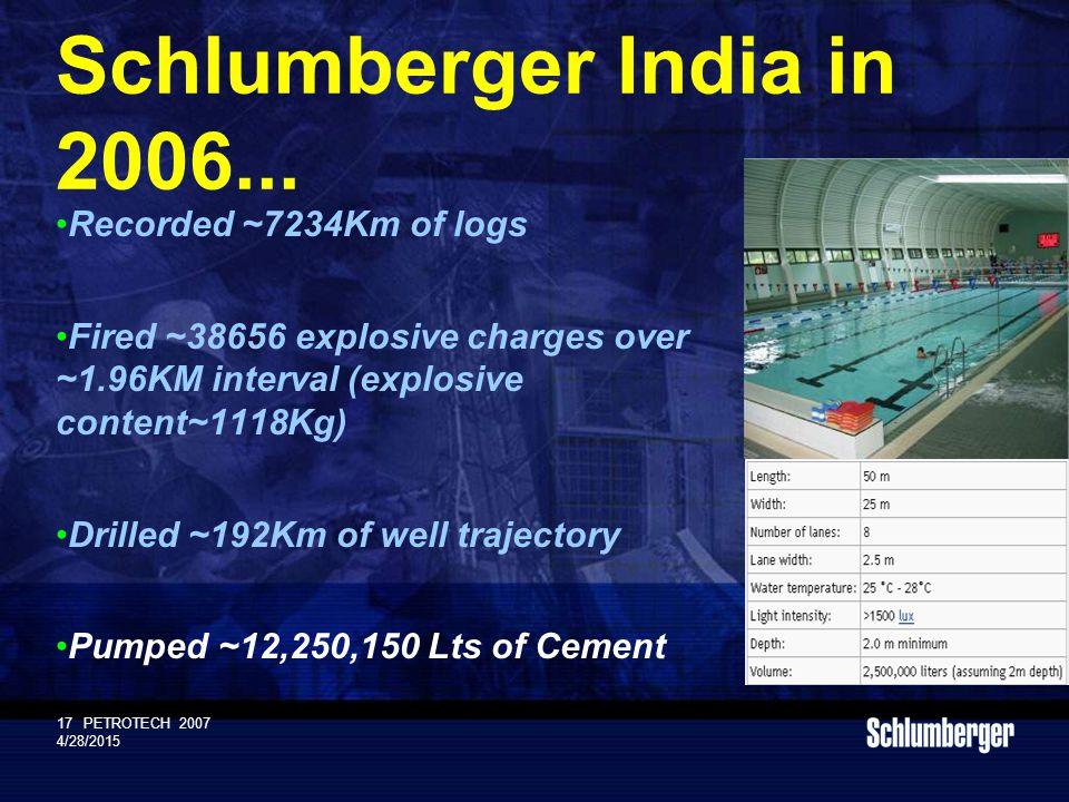 Schlumberger Public 17PETROTECH 2007 4/28/2015 Schlumberger India in 2006...