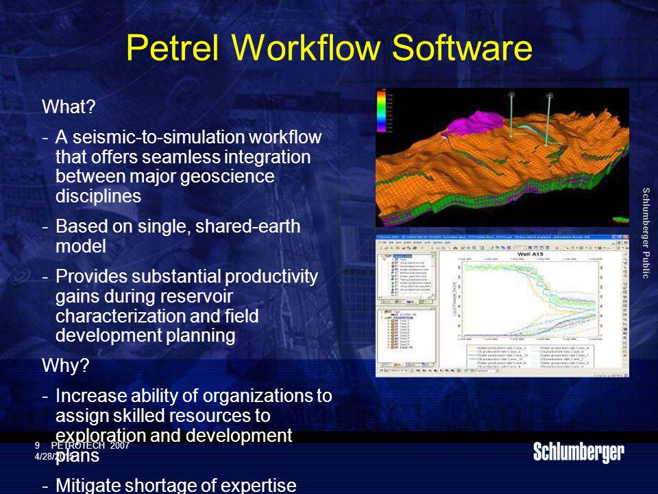 Schlumberger Public 9PETROTECH 2007 4/28/2015 Petrel Workflow Software What.