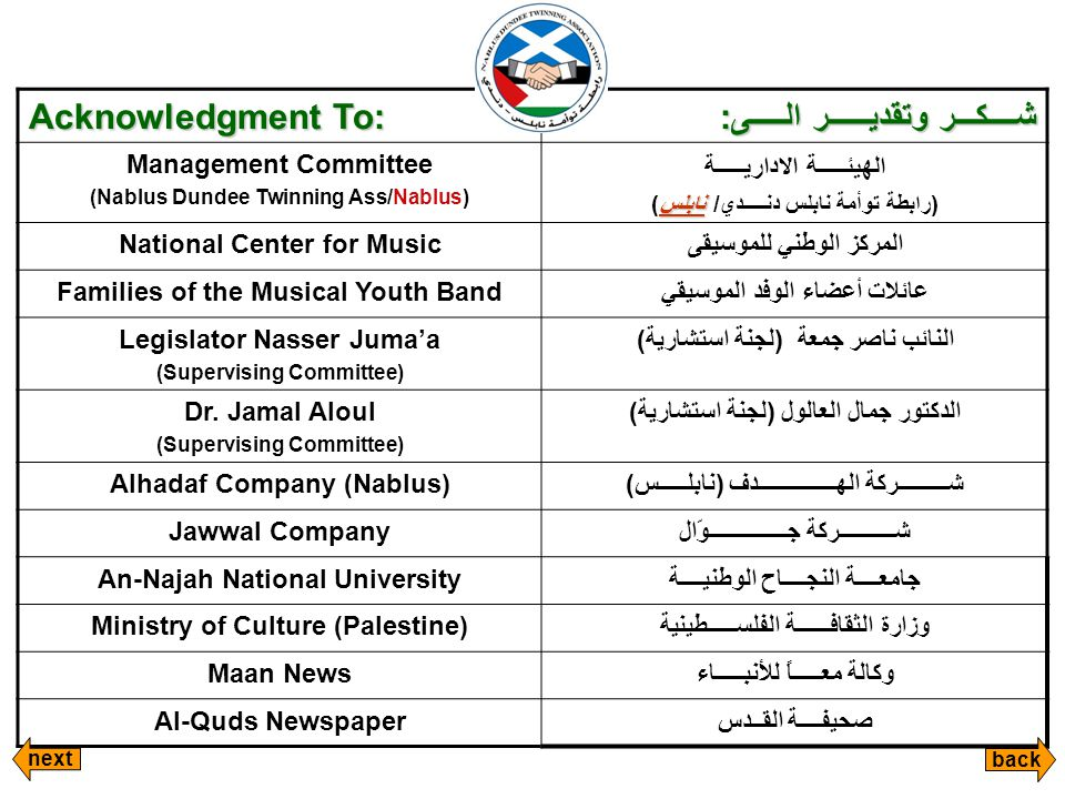 Acknowledgment To: شــــكـــر وتقديــــــر الـــــى: Management Committee (Nablus Dundee Twinning Ass/Nablus) الهيئـــــة الاداريـــــة نابلس (رابطة توأمة نابلس دنـــــدي/ نابلس) National Center for Musicالمركز الوطني للموسيقى Families of the Musical Youth Bandعائلات أعضاء الوفد الموسيقي Legislator Nasser Juma'a (Supervising Committee) النائب ناصر جمعة (لجنة استشارية) Dr.