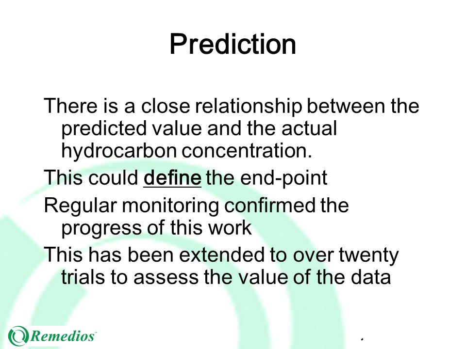 Prediction There is a close relationship between the predicted value and the actual hydrocarbon concentration.