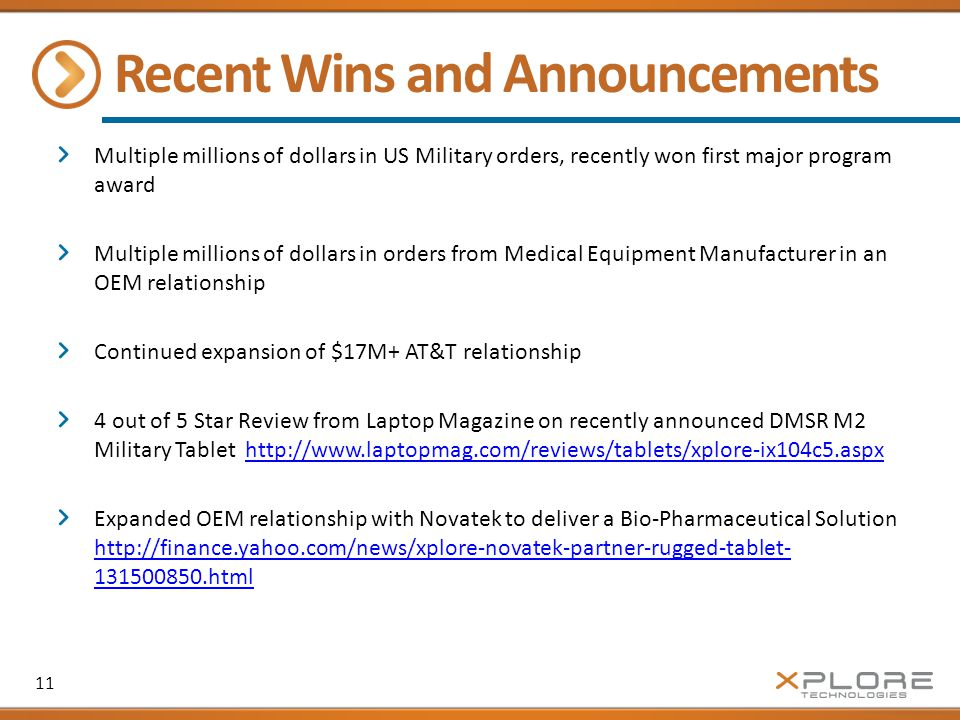 Recent Wins and Announcements Multiple millions of dollars in US Military orders, recently won first major program award Multiple millions of dollars in orders from Medical Equipment Manufacturer in an OEM relationship Continued expansion of $17M+ AT&T relationship 4 out of 5 Star Review from Laptop Magazine on recently announced DMSR M2 Military Tablet http://www.laptopmag.com/reviews/tablets/xplore-ix104c5.aspxhttp://www.laptopmag.com/reviews/tablets/xplore-ix104c5.aspx Expanded OEM relationship with Novatek to deliver a Bio-Pharmaceutical Solution http://finance.yahoo.com/news/xplore-novatek-partner-rugged-tablet- 131500850.html http://finance.yahoo.com/news/xplore-novatek-partner-rugged-tablet- 131500850.html 11