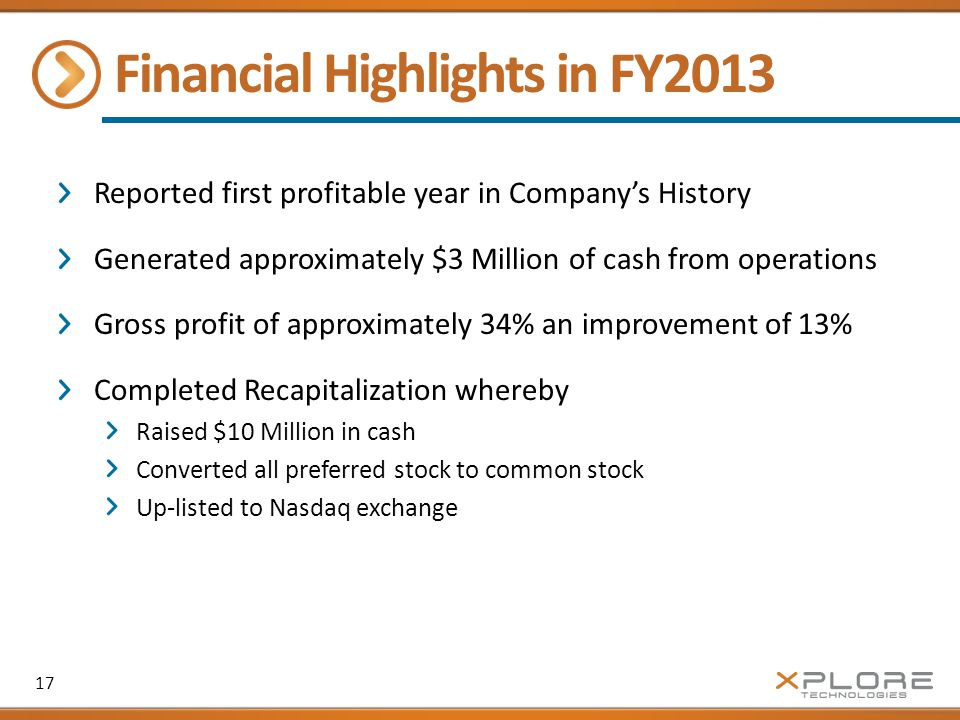 Financial Highlights in FY2013 Reported first profitable year in Company's History Generated approximately $3 Million of cash from operations Gross profit of approximately 34% an improvement of 13% Completed Recapitalization whereby Raised $10 Million in cash Converted all preferred stock to common stock Up-listed to Nasdaq exchange 17