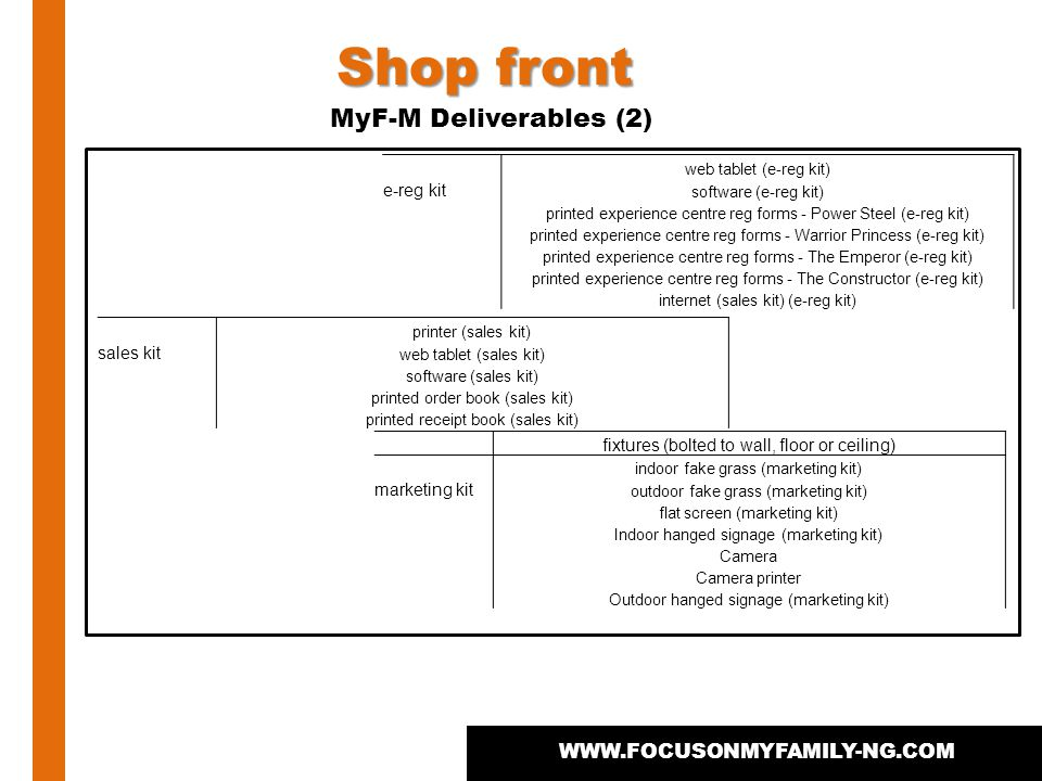 WWW.FOCUSONMYFAMILY-NG.COM Shop front MyF-M Deliverables (2) web tablet (e-reg kit) e-reg kit software (e-reg kit) printed experience centre reg forms - Power Steel (e-reg kit) printed experience centre reg forms - Warrior Princess (e-reg kit) printed experience centre reg forms - The Emperor (e-reg kit) printed experience centre reg forms - The Constructor (e-reg kit) internet (sales kit) (e-reg kit) printer (sales kit) sales kit web tablet (sales kit) software (sales kit) printed order book (sales kit) printed receipt book (sales kit) fixtures (bolted to wall, floor or ceiling) indoor fake grass (marketing kit) marketing kit outdoor fake grass (marketing kit) flat screen (marketing kit) Indoor hanged signage (marketing kit) Camera Camera printer Outdoor hanged signage (marketing kit)