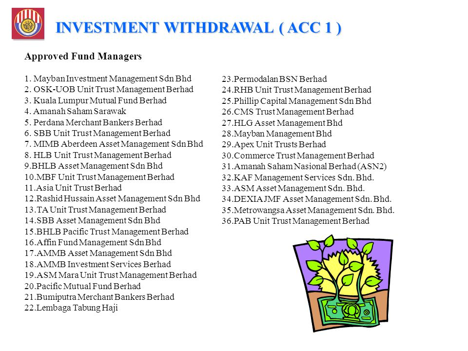 Approved Fund Managers 1. Mayban Investment Management Sdn Bhd 2. OSK-UOB Unit Trust Management Berhad 3. Kuala Lumpur Mutual Fund Berhad 4. Amanah Sa
