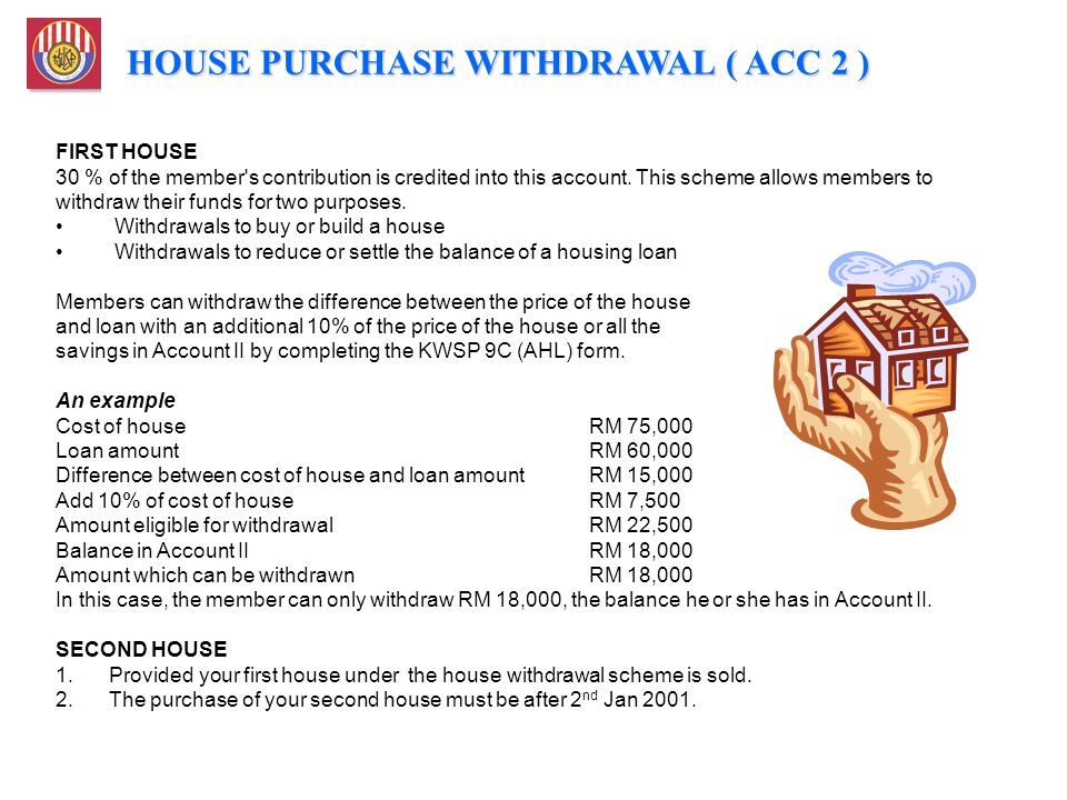 FIRST HOUSE 30 % of the member's contribution is credited into this account. This scheme allows members to withdraw their funds for two purposes. With